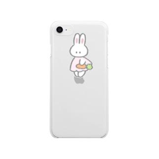 にんじんを持つ(クリア) Clear smartphone cases