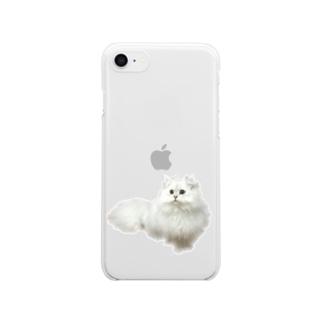 おすわりにゃんこ。 Clear smartphone cases