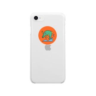 自撮りイルカ Clear smartphone cases