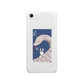 ヘビうさ Clear smartphone cases