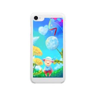 わんとたんぽぽ 昼 Clear smartphone cases