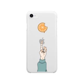 食べかけのオレンジ Clear smartphone cases
