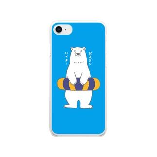 シロクマさんとウキワ Clear smartphone cases