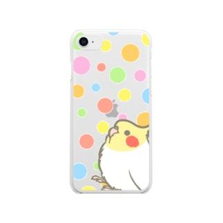 もふもふオカメインコとガムボールぽろぽろ Clear smartphone cases