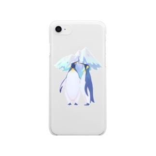 王様ペンギン(雪山) Clear smartphone cases