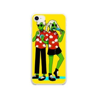 ワニボーイとワニガール Clear smartphone cases