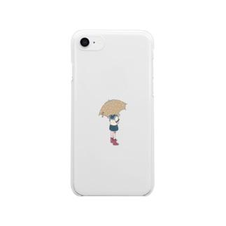 傘と少年 Clear smartphone cases