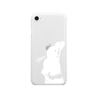 MasatsuguTamuraのRabbit drawing series / White Clear smartphone cases