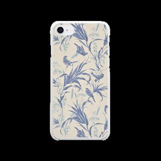 Fukuko55の鳥シリーズ(スモーキーブルー) Clear smartphone cases