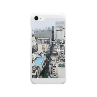 プールが見える Clear smartphone cases