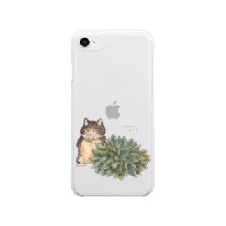 シノクラッスラとねこ Clear smartphone cases