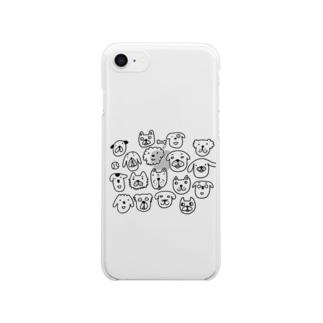 ワン わん WAN! Clear smartphone cases