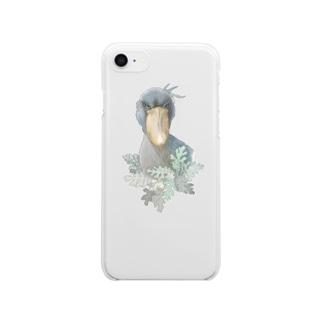 ハシビロコウが見てる Clear smartphone cases