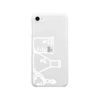 黒・赤などのスマホ用主要3キャラ(白) クリアスマートフォンケース