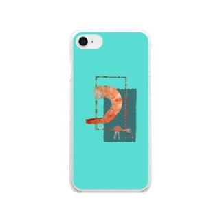 茹でてもエビはエビ Clear smartphone cases