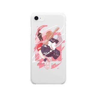 「音楽に溺れる。」茜色ver. Clear smartphone cases
