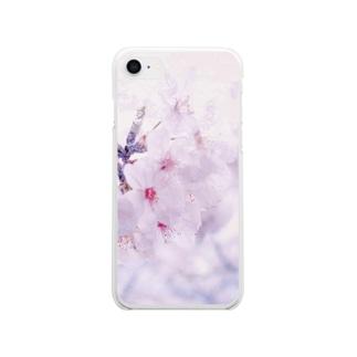 桜色に染めてみる Clear smartphone cases