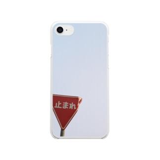 文字のある風景(止まれ) Clear smartphone cases