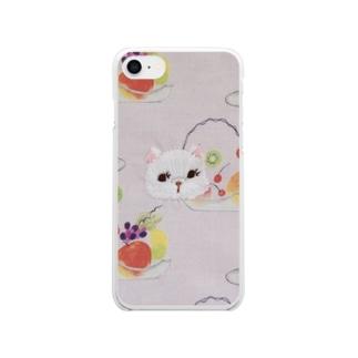 キャットフルーツパフェ Clear smartphone cases