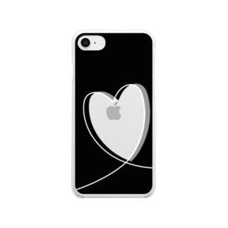 推し色スマホケース ブラック グレー Clear smartphone cases