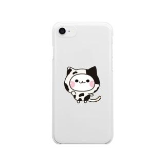 DECORの気づかいのできるネコ 牛さんver. Clear smartphone cases