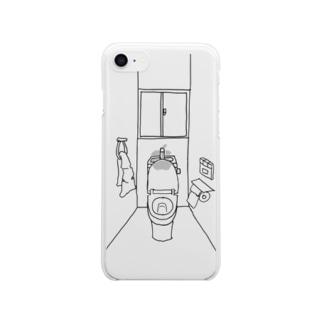 便座が開きっぱなしのトイレの一室 Clear smartphone cases