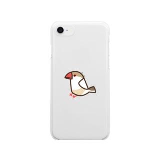 クリーム文鳥 Clear smartphone cases