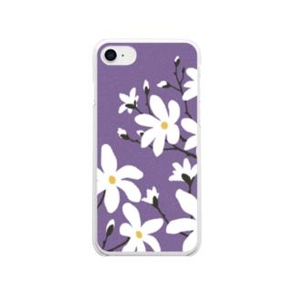 辛夷(こぶし)の花 Clear smartphone cases