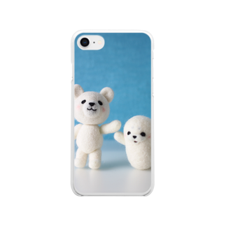 Handmade by Caranfeeのシロクマとアザラシ Clear smartphone cases