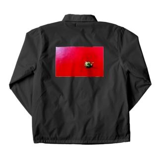 〈white logo〉strawberry back print Coach Jacket