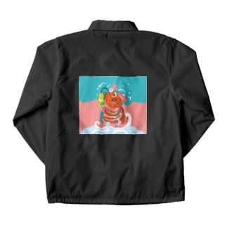 跳ね金魚(背景カラー) Coach Jacket