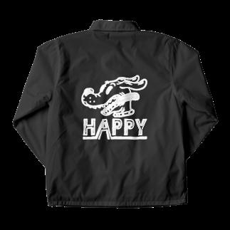 nidan-illustrationのhappy dog #1 (white ink) Coach Jacketの裏面