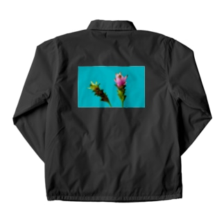 <back print> Curcuma alismatifolia - blue Coach Jacket