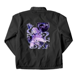 和柄 青の金魚姫3 藤紫 キモノガール Coach Jacket
