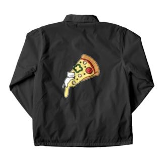 とろけるチーズピザでまどろむ猫 Coach Jacket