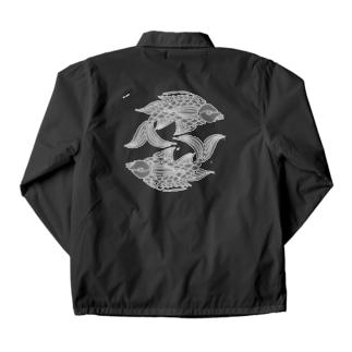 沖縄の風♪ 壷屋焼風双魚文(濃) Coach Jacket