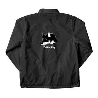 ペタンする黒の柴犬(白文字) Coach Jacket
