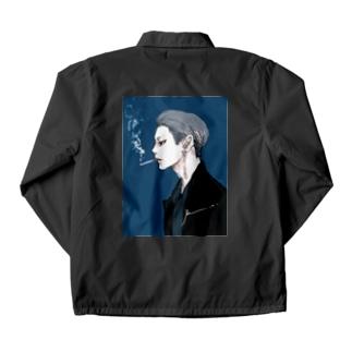男心 blue Coach Jacket