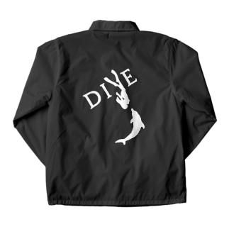 【DIVE】ドルフィンスイム 白 -イルカとスキンダイビング- Coach Jacket