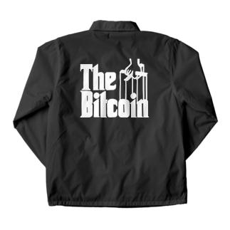 カマラオンテのbitcoin ビットコイン ゴッドファーザー風  白字白フォント 白字の文字なのでカラーは黒色がオススメです 白色だと文字が分かりません Coach Jacket