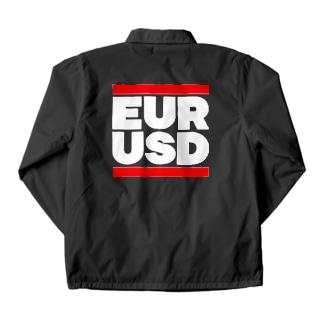 ユロドル ユーロドル EURUSD FX 為替 両替 RUNDMC風 白字白フォント 白字の文字なのでカラーは黒色がオススメです 白色ですと文字が分かりません Coach Jacket