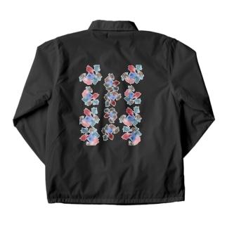 yuruholismの和風 和柄 模様 文様 華 花球 柄物 シック 扇 青海波文 Coach Jacket