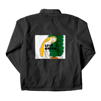 LOVE GREEN with logo Coach Jacket