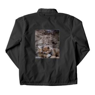 彩り豊かサロベツ原野の生き物◆にこらびの【にこらび】仲良しキタキツネ0121 Coach Jacket