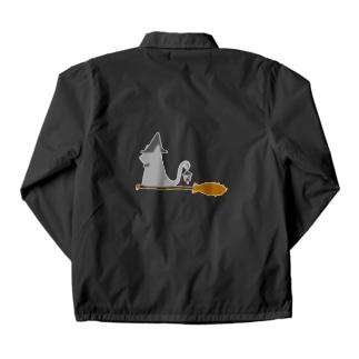 とんがり帽子猫(箒ランプ) Coach Jacket