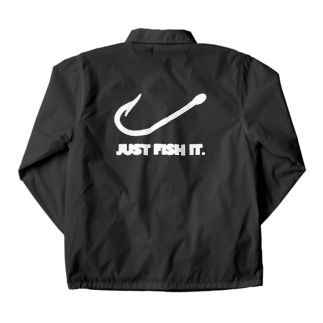 JUST FISH IT (白) Coach Jacket