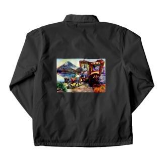 猫と和と牛車と富士山 Coach Jacket