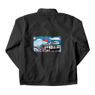 YASCORN(やすこーん)鉄道の「踊り子」185系と富士山、桜 イラスト Coach Jacket