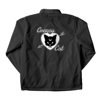 【MOON SIDE】 Creepy Cat #Black Ver.2 Coach Jacket