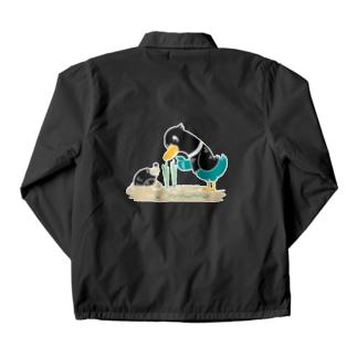 バックプリント*CT159 ネギを値切っている鴨カモ*C*大きいイラスト*白フチあり Coach Jacket